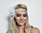white rose and silver 1920s style flapper headband NO.229