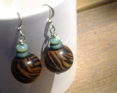Tiger Striped Wooden Earrings