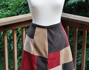 1990s Colorblock Short Skirt. Ultrasuede A-line skirt. Size 10 by Casual Corner.
