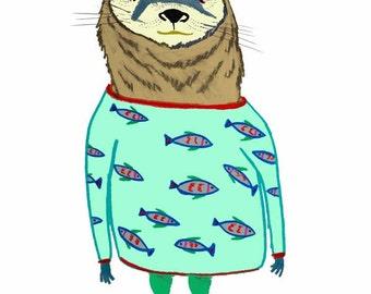 The Otter. Kids Decor, Children's Room Art, Nursery Wall Prints