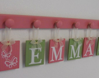 Butterfly Nursery Decor, Butterfly Art, Pink and Green Sign, Wooden Hooks Custom Baby Name