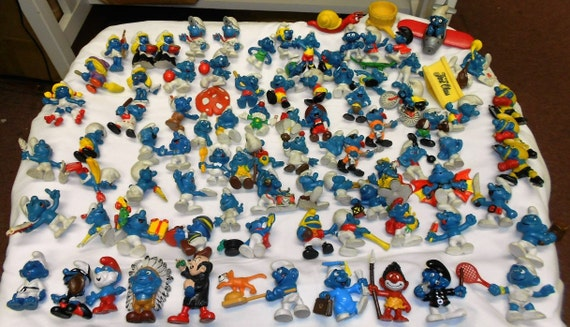 Vintage Smurfs Collection 1969 to 1985. Lot of over 73 pieces. Schleich and Bully