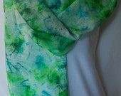 Hand Dyed Silk Scarf  Hand painted Scarf -  green, chartreuse and Teal-Habotai Silk Batik women's fashion