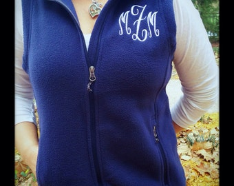 Personalized Ladies Embroidered Monogramed Microfleece  Vest FRONT monogram Included