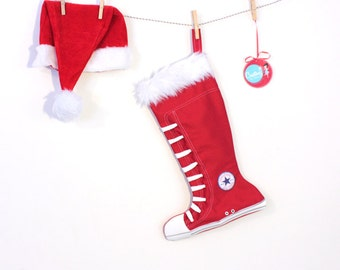 Christmas Stockings:  - Converse inspired high Top shoes- Red Stocking