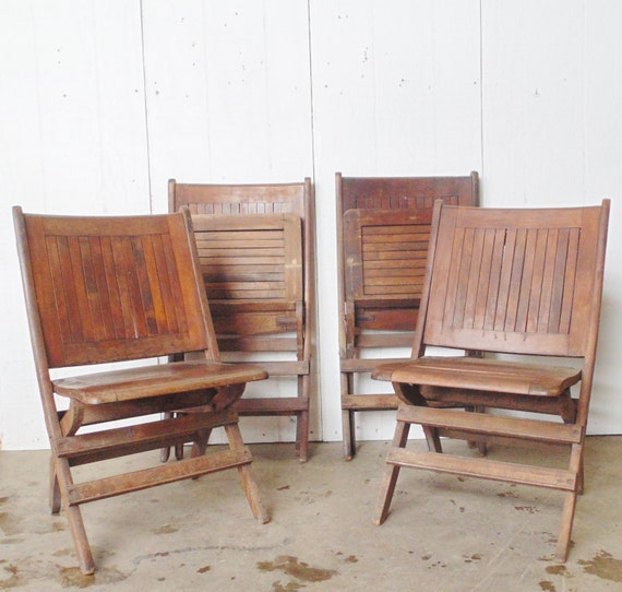 SALE Antique Heywood Wakefield Folding Wooden Chairs Set of 4