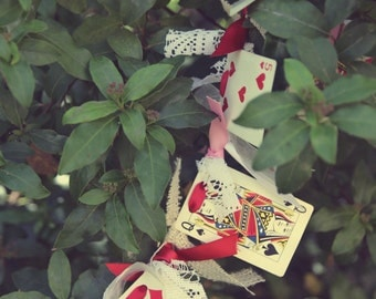 alice in wonderland decorations garland shabby chic valentines day christmas tea party vintage playing cards