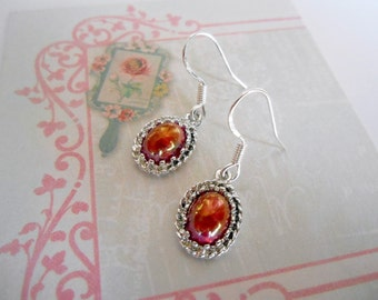 Glass silver earrings, sterling silver backings, vintage components