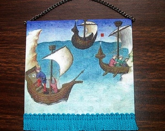 Medieval Ships Tapestry, Dollhouse Miniature 1/12 Scale, Hand Made in the USA