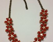 Vintage 1950's Pretty Red Thermoset,and Rhinestone Floral Necklace - VintageGemsAndPurls