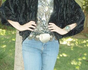 Handmade Crushed Black Velvet Shrug/Tunic Bohemian Hippie Batwing Drapy Sm Med