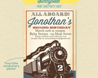 Vintage Train - All Aboard Birthday Party Invitation - Locomotive Printable Invite
