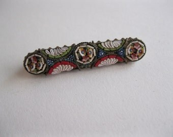 Antique Italian Micro Mosaic Brooch Pin Vintage Edwardian Victorian Millefiori