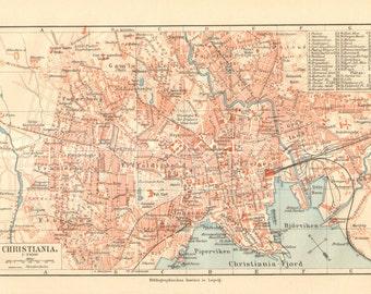1908 Original Antique City Map of Christiana or Kristiania, present Oslo, Norway