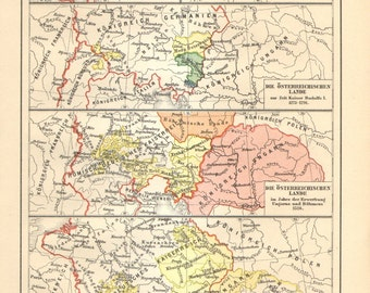 1909 Original Antique Historical Map of Austria and Hungary from Middle Ages