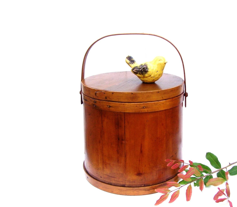 Vintage Oak Firkin Wood Sugar Bucket With Lid Huge
