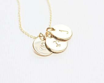 Gold Tiny Initial Necklace - Small Mothers Necklace - Push Present - Modern Gift for Mother - Gift for Grandmother - Christmas Gift for Her