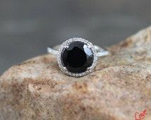 Black Spinel & Diamond Round Halo Engagement Ring 3ct 9mm 14k 18k White Yellow Rose Gold-Platinum-Custom made-Wedding-Anniversary-10k