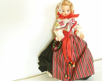 Vintage European Doll with Embroidered Satchel