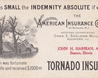Tornado Insurance-  1900s Antique Advertisement- Rockford, Illinois- American Insurance Company- Natural Disaster- Paper Ephemera- Print