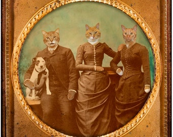 Cats, vintage photograph, mixed media collage, paper collage,dog, Funny, Silly, Altered Art, Sepia, Brown, Gold, 8x8, 5x5, The Siblings