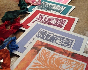 7 Handmade Hand pulled Abstract Tree Linocut Print gift tag, Paper2Roses Design, attach to Gift Basket, Tie around Bottle