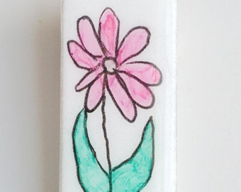 Watercolor Flower Art on a Glass Pin