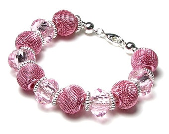 Pink Glass & Metal Mesh Large Hole Bead Silver Finish Snake Chain Bracelet Interchangeable Jewelry Add Your Own Beads to Create New Designs