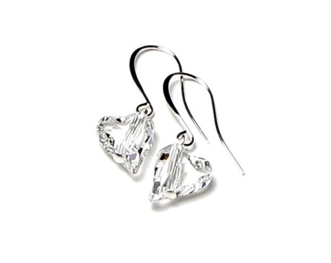 Clear Wild Heart Swarovski Crystal Silver Earrings Simple Wedding Earrings Romantic Gifts for Women Modern Classic Valentine's Day Jewelry