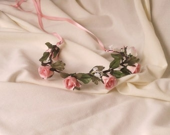 bridal party hair accessories pink rose flower crown photo prop headband rustic chic wreath Halo wedding shabby accessories floral circlet