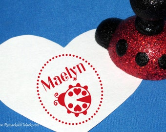 Red Ladybug Personalized Name Stamp Teacher Gift Idea Cute Lovebug Ladybird Custom Rubber Stamp Sparkly Gift Red and Black Lady bug