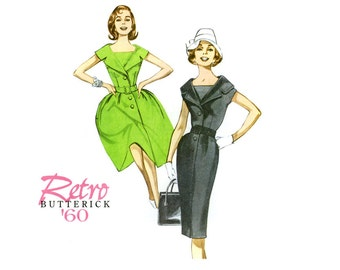 1960s Dress Pattern Uncut Butterick B5747 Retro Reissue Sheath Full Skirt Fit and Flare Day or Evening Dress Womens Vintage Sewing Patterns
