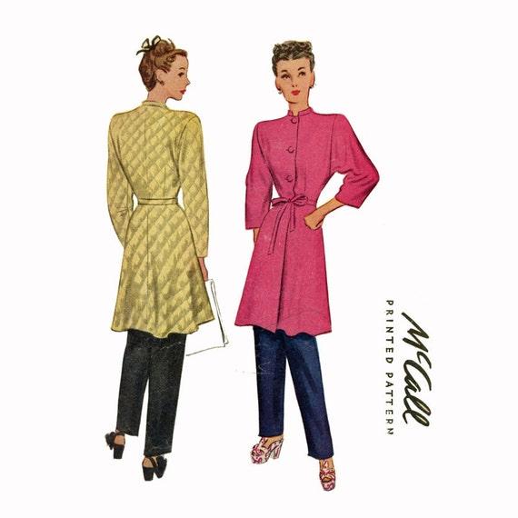 1950s Nehru Collar Coat Trousers Pattern McCall 6192 Bust 34 Womens Vintage Sewing Pattern Misses Mandarin Collar Brunch Coat Dressing Robe