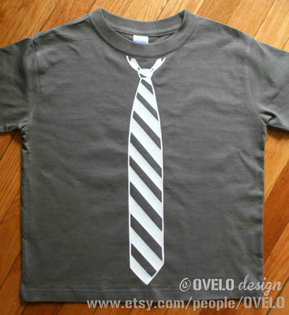 Fancy PantsTie T Shirt in Charcoal with White Tie