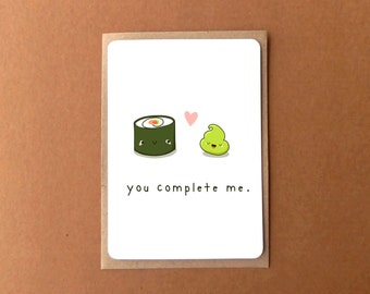 Greeting card - YOU COMPLETE ME, sushi and wasabi