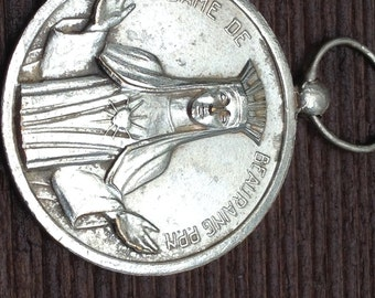 "Notre Dame of BEAURAING Vintage Religious Medal on 18"" sterling silver rolo chain"