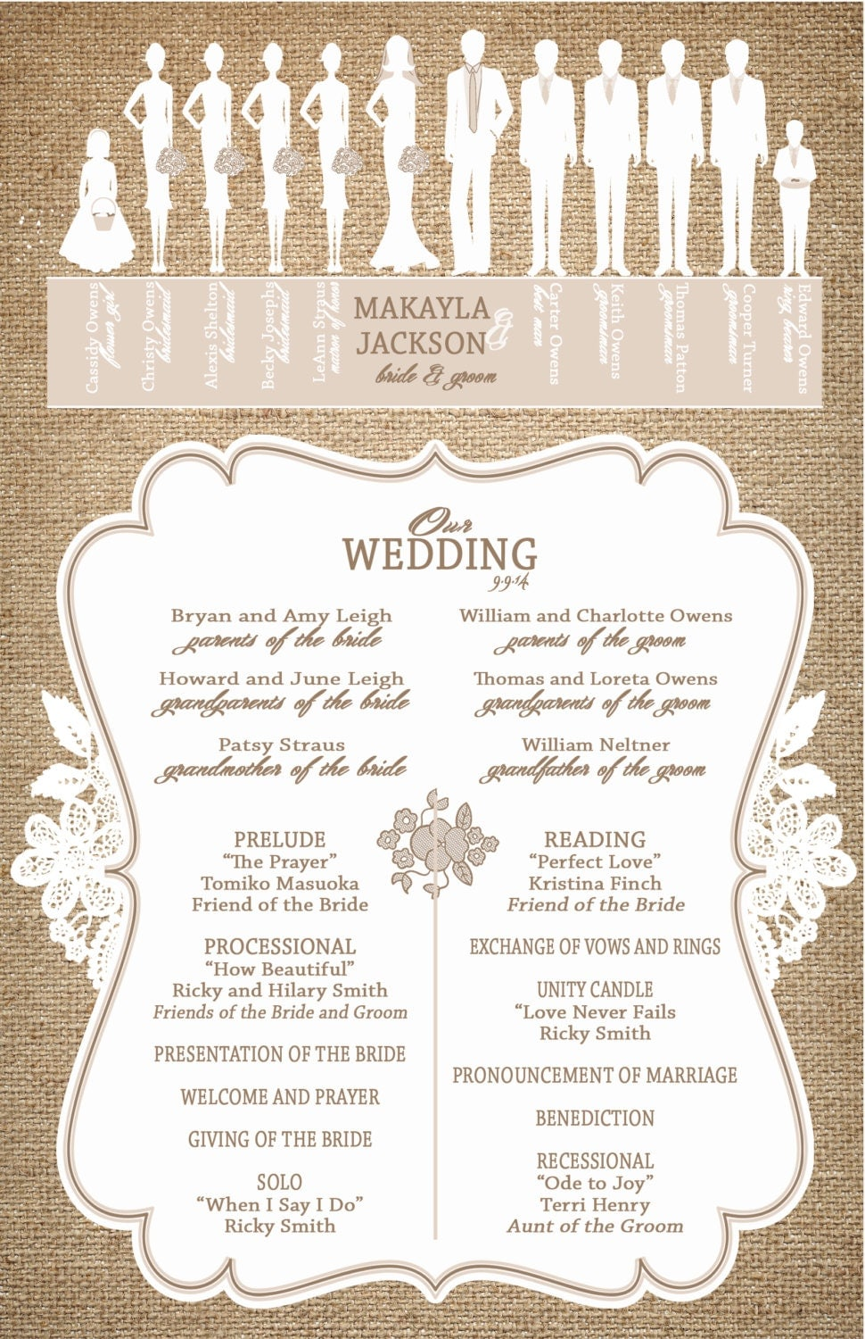 programs for wedding ceremony template - burlap and lace wedding programs ceremony programs