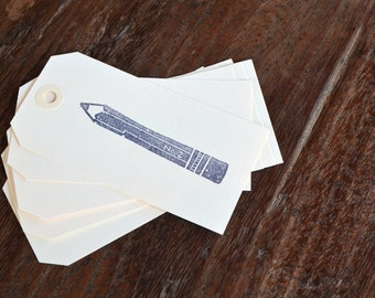 Gift Tags Hand Stamped Pencil / Set of eight