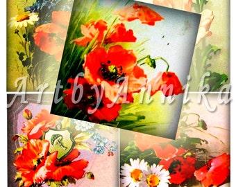 Digital Collage of Vintage Poppies Catherine Klein - 20 2x2 Inch JPG images - Digital Collage Sheet