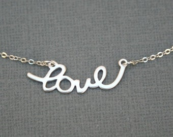 Silver Love Necklace. Love Necklace. Sterling Silver Charm Necklace. Bridesmaids.Wedding Necklace.Bridal Necklace.Silver Necklace.Valentines