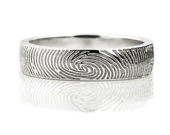 Your Fingerprint Ring - Sterling Silver Engraving Wedding Band-non blackened,6mm