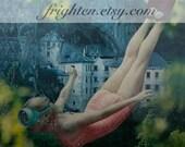 Surreal Art Print, Colorful Art, Paper Collage Print, Pink and Teal Art, Summer Art, Diving Art, Retro Art Print