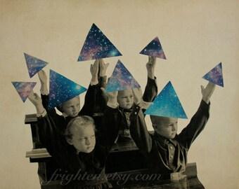 Surreal Geometric Space Art, Print of Paper Collage, Triangle Children, Retro Art Print