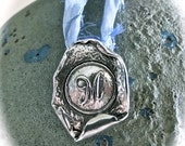 PURE Silver MONOGRAM M Pendant Necklace on Pure Silk Sari Ribbon (your choice of color)