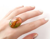 Fox Ring, Pink Ring, Animal Ring, Adjustable silver ring, Forest Animal Jewelry, Salmon Pink, Grass Green, Red and black fox, unique ring