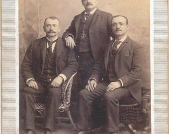 c. 1890 Original Sepia-toned Cabinet Card Photo of 3 Gentlemen in Suits