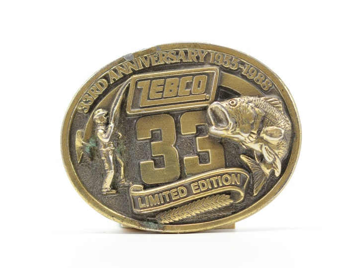 Vintage Fishing Belt Buckle | Country | Zebco 33 Fishing Pole - Vintage Brass Belt Buckle - BB13 SALE