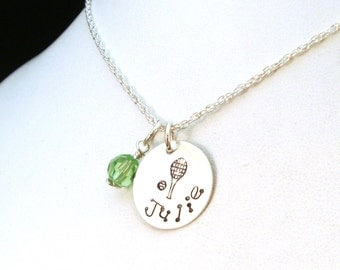 Tennis Necklace / Personalized Tennis Player Necklace / Name Necklace / Birthstone Necklace / Favorite Things Necklace