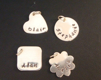 Add a Charm: Pendant - Personalized Hand Stamped Sterling Silver Pendant Charm