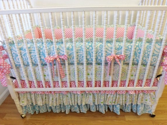 made to order shabby chic crib bedding girl by